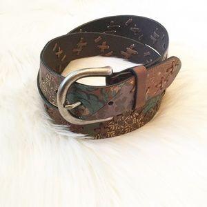 Fossil Floral Patchwork Leather Belt